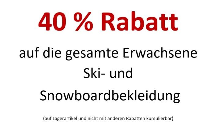 40% auf Ski-und Snowboardbekleidung