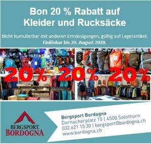 20% Rabatt auf Kleider und Rucksäcke