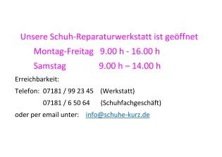 geänderte Öffnungszeiten Werkstatt ab 16.12.2020
