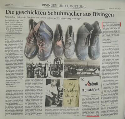 Schuhmacher-Tradition in Bisingen - Zeitungsbericht 2021