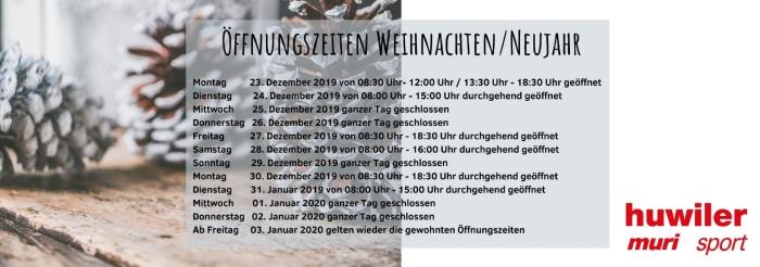 Öffnungszeiten Weihnachten/Neujahr 19/20