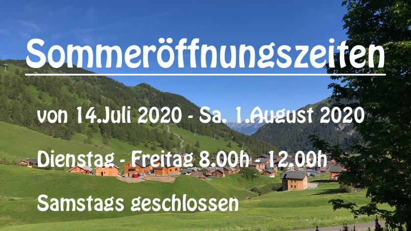 Öffnungzeiten Sommer 2020