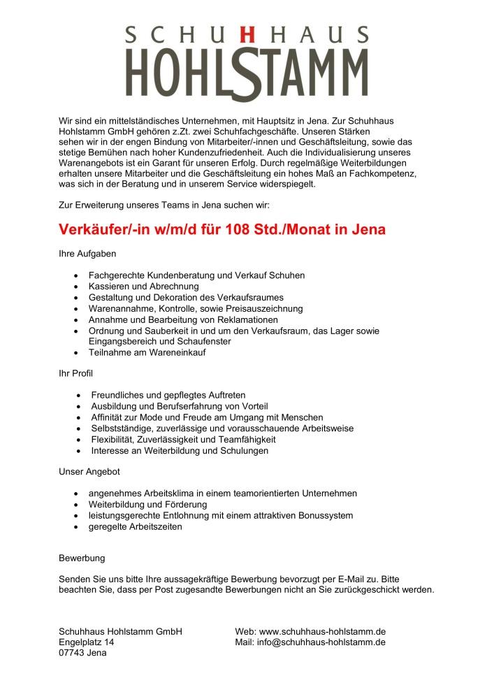 Stellenanzeige Jena 2020